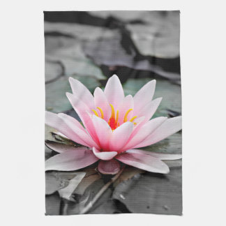 Beautiful Pink Lotus Flower Waterlily Zen Art Kitchen Towel