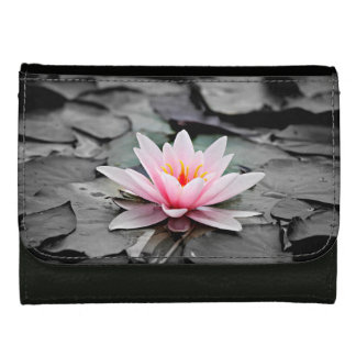Beautiful Pink Lotus Flower Waterlily Zen Art Leather Wallet For Women