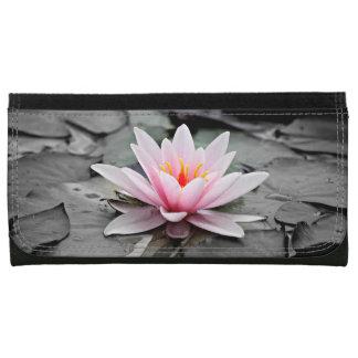 Beautiful Pink Lotus Flower Waterlily Zen Art Leather Wallet For Women