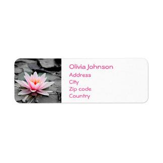 Beautiful Pink Lotus Flower Waterlily Zen Art Return Address Label