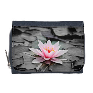 Beautiful Pink Lotus Flower Waterlily Zen Art Wallets