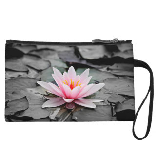 Beautiful Pink Lotus Flower Waterlily Zen Art Wristlet