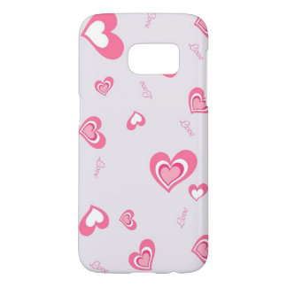 beautiful pink love hearts art samsung galaxy s7 case