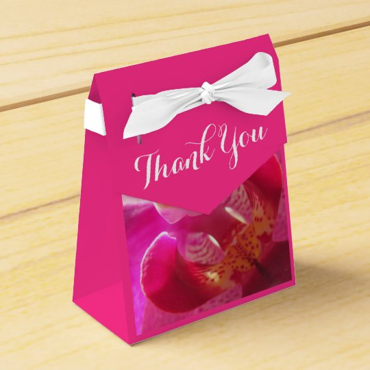 Beautiful Pink Orchid Thank you Party Favor Boxes