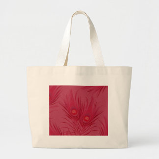 Beautiful Pink Peacock Feathers Pattern Large Tote Bag
