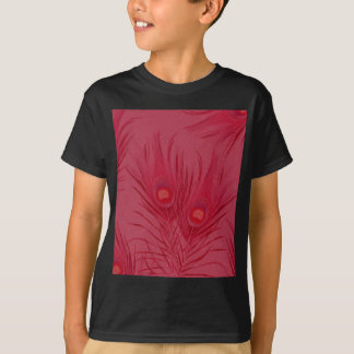 Beautiful Pink Peacock Feathers Pattern T-Shirt
