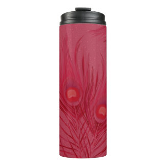 Beautiful Pink Peacock Feathers Pattern Thermal Tumbler