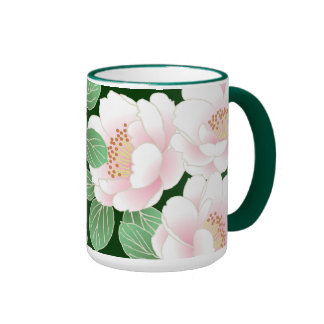Beautiful Pink Peony Vintage Floral Coffee Mugs