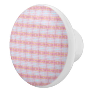 Beautiful Pink Plaid Cabinet Pull With Blue