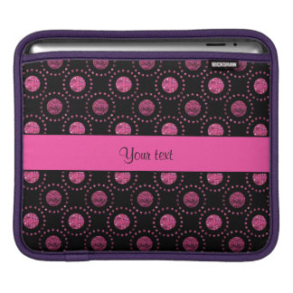 Beautiful Pink Polka Dots Black iPad Sleeve