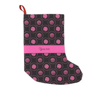 Beautiful Pink Polka Dots Black Small Christmas Stocking