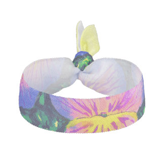 Beautiful Pink Purple Pansy Watercolour Hair Tie