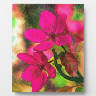 Beautiful pink red apple blossom. Girly Plaque