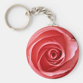 Beautiful Pink Rose Basic Round Button Keychain