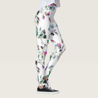 Beautiful Pink Rose & Blue Flower Floral Leggings
