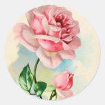 Beautiful Pink Rose Flower Round Sticker
