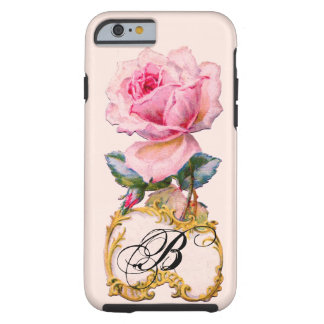 BEAUTIFUL PINK ROSE MONOGRAM TOUGH iPhone 6 CASE