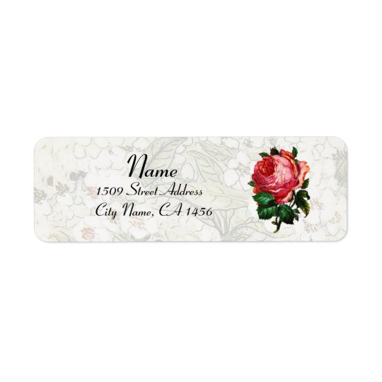 BEAUTIFUL PINK ROSE RETURN ADDRESS LABEL