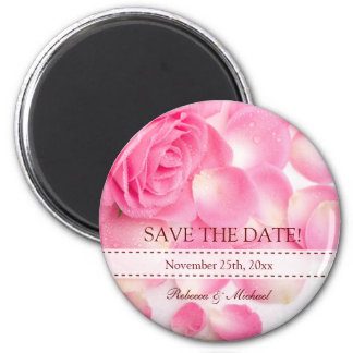 Beautiful Pink Rose Save the Date 2 Inch Round Magnet