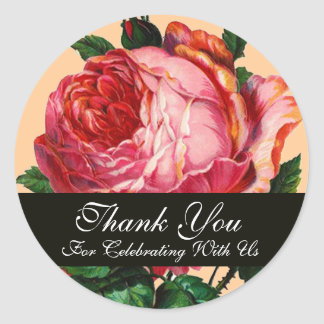 BEAUTIFUL PINK ROSE  Thank You Classic Round Sticker