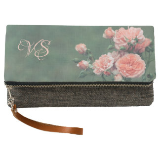 Beautiful pink roses. Add your monogram. Clutch