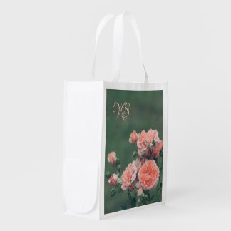 Beautiful pink roses. Add your monogram. Reusable Grocery Bag