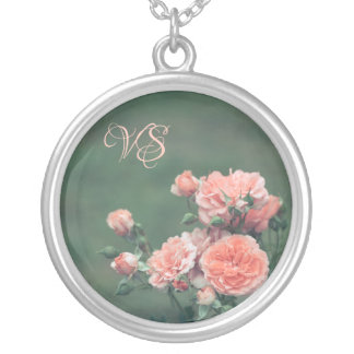 Beautiful pink roses. Add your monogram. Silver Plated Necklace