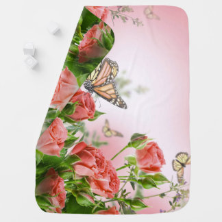 Beautiful pink roses and butterflies shower curtai baby blanket