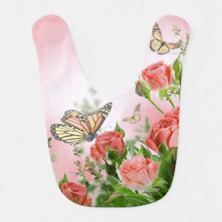 Beautiful pink roses and butterflies shower curtai bib