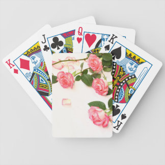 Beautiful pink roses bicycle playing cards