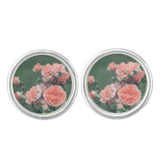 Beautiful pink roses on a natural green background cufflinks