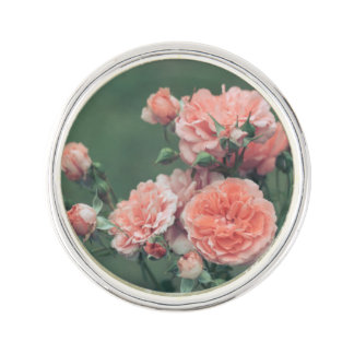 Beautiful pink roses on a natural green background lapel pin