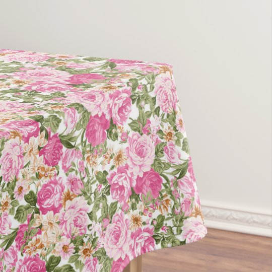 Beautiful pink roses pattern dining tablecloth