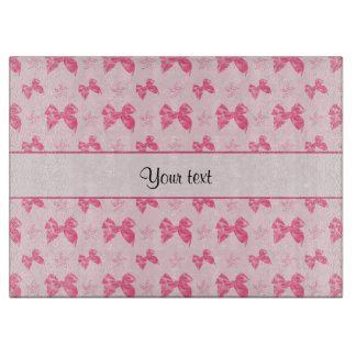 Beautiful Pink Satin Bows Cutting Board