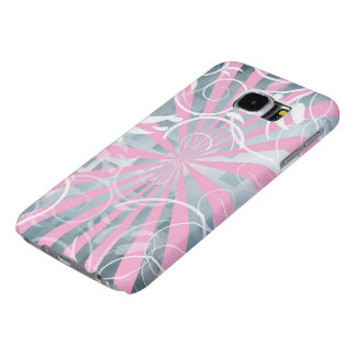 beautiful pink silver flowers abstract vector art samsung galaxy s6 cases