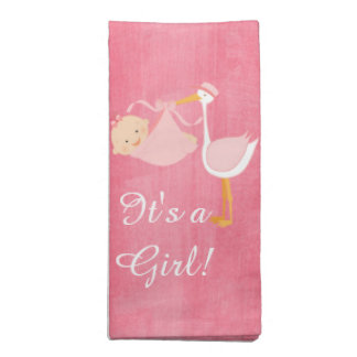 Beautiful Pink Stork Baby Shower Party Napkin