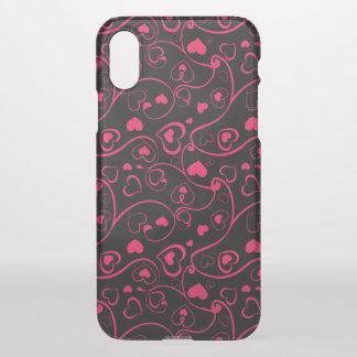 beautiful pink swirl love hearts iPhone x case
