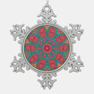 Beautiful Pink Teal Orange Zen Pattern Pewter Snowflake Ornament