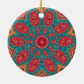 Beautiful Pink Teal Orange Zen Pattern Round Ceramic Ornament