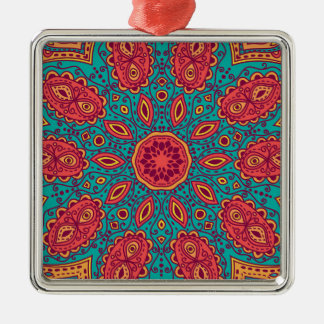 Beautiful Pink Teal Orange Zen Pattern Silver-Colored Square Ornament