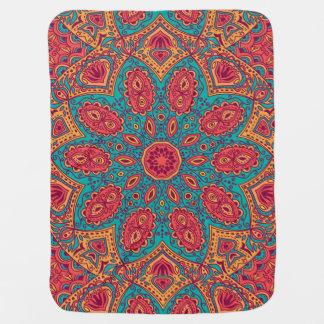 Beautiful Pink Teal Orange Zen Pattern Swaddle Blanket