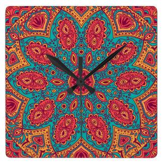 Beautiful Pink Teal Orange Zen Pattern Wallclock