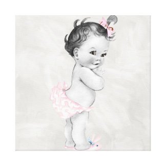 Beautiful Pink Vintage Baby Girl Canvas Print