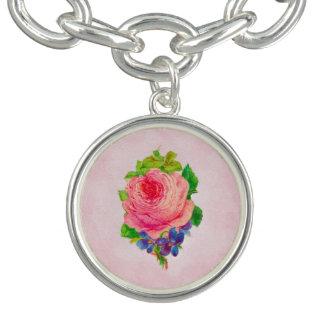 Beautiful Pink Vintage Rose Pretty Violet Sprig Bracelet