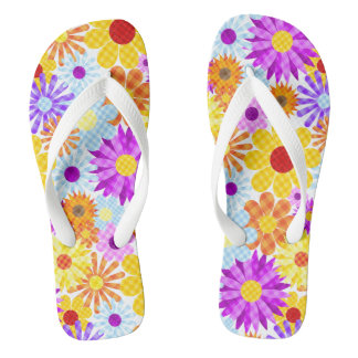 Beautiful Plaid Flower Collection Pattern Flip Flops