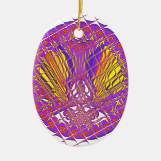 Beautiful Plum Amazing Colorful Pattern Design. Ceramic Oval Ornament