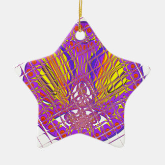 Beautiful Plum Amazing Colorful Pattern Design. Ceramic Star Ornament