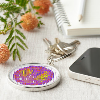 Beautiful Plum Amazing Colorful Pattern Design. Silver-Colored Round Keychain