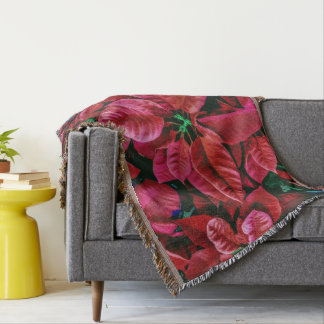 Beautiful Poinsettia Plant Photo Print Design Throw Blanket