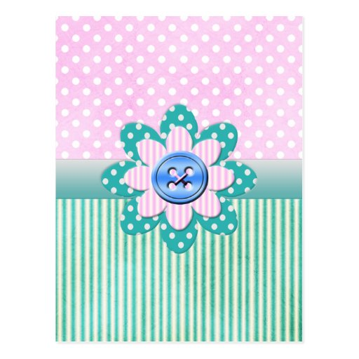 Beautiful polka dots in soft pink and blue stripes postcards